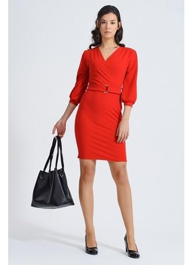 Jument Scuba Kruvaze Balon Capri  Kemerli Elbise Kırmızı